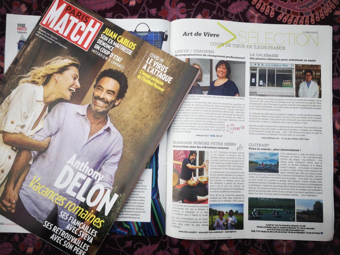 Publication sur le massage sonore Peter Hess® dans le magazine PARIS MATCH