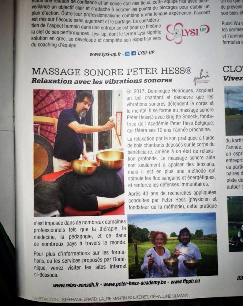 Article paru dans le magazine Paris Match mettant en avant Dominique Henriques et l'Académie Peter Hess concernant le massage sonore Peter Hess.